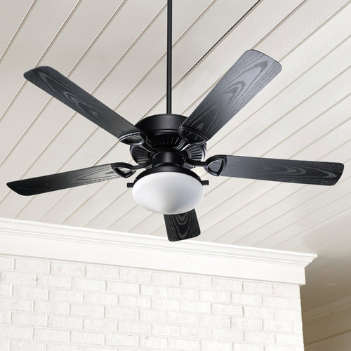 Quorum Lighting Quorum Lighting Estate Patio Matte Black Ceiling Fan with Light 1435255959
