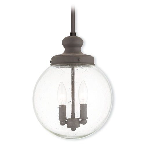 Livex Lighting Seeded Glass Mini-Pendant Light Bronze Livex Lighting 50914-07