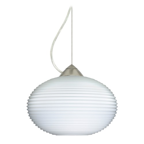 Besa Lighting Besa Lighting Pape Ribbed Glass Satin Nickel Pendant Light 1KX-491207-SN