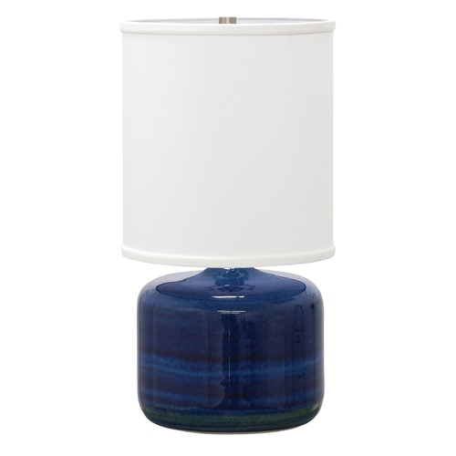 House of Troy Lighting House Of Troy Scatchard Blue Gloss Table Lamp with Cylindrical Shade GS120-BG