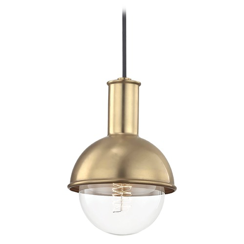 Mitzi by Hudson Valley Riley Aged Brass Mini-Pendant Light Mitzi by Hudson Valley H111701-AGB
