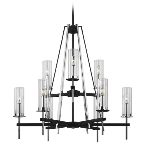 Feiss Lighting Feiss Lighting Broderick Textured Black Chandelier F3226/9TXB/CH