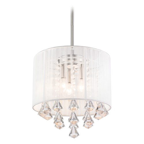 Z-Lite Z-Lite Aura Brushed Nickel Pendant Light with Drum Shade 891-12W-C