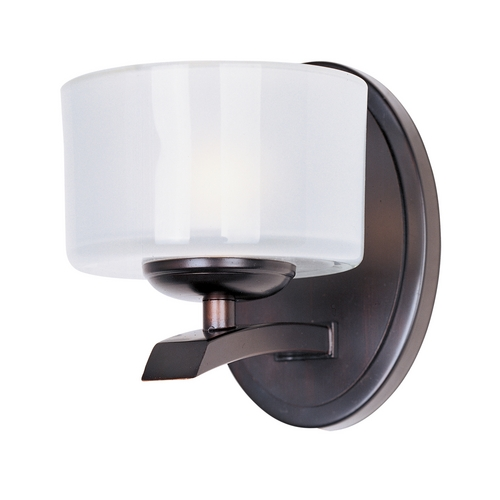 Maxim Lighting Modern Sconce Wall Light with White Glass in Oil Rubbed Bronze Finish 19051FTOI