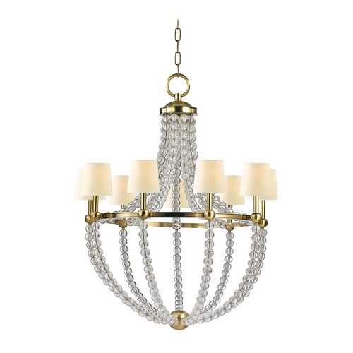 Hudson Valley Lighting Chandelier with Beige / Cream Paper Shades in Aged Brass Finish 3119-AGB
