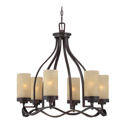 Designers Fountain Lighting Chandelier with Beige / Cream Glass in Tuscana Finish 83686-TU