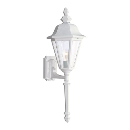Sea Gull Lighting Outdoor Wall Light with Clear Glass in White Finish 8823-15