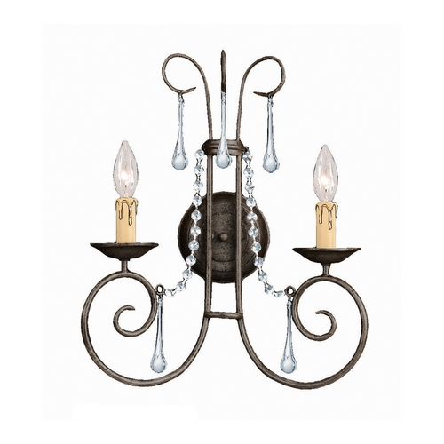 Crystorama Lighting Crystal Sconce Wall Light in Dark Rust Finish 5202-DR-CL-MWP