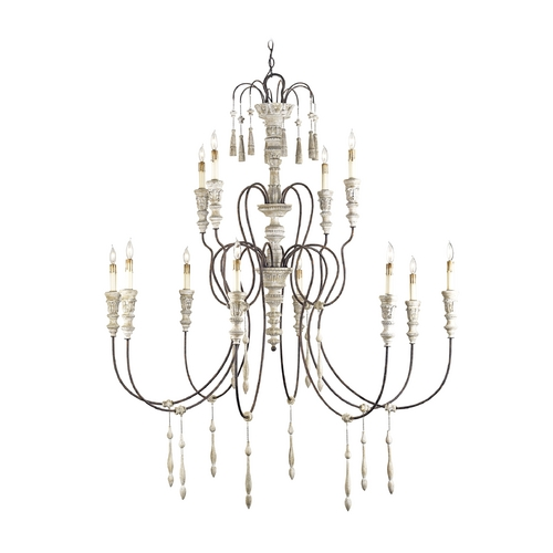 Currey and Company Lighting Chandelier in Stockholm White/rust Finish 9117