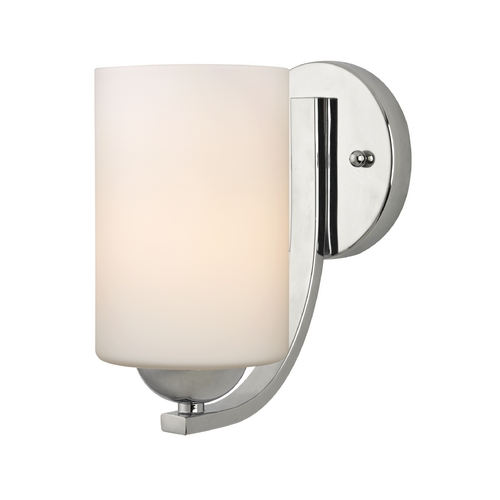 Design Classics Lighting Modern Chrome Wall Sconce with White Cylinder Glass Shade 585-26 GL1028C