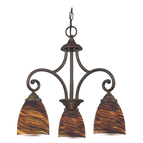 Design Classics Lighting Mini-Chandelier with Brown Glass in Neuvelle Bronze Finish 716-220 GL1023MB