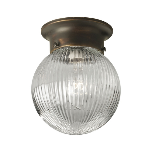 Progress Lighting Progress Flushmount Light with Clear Glass in Antique Bronze Finish P3599-20