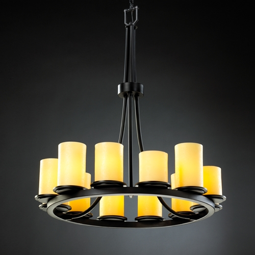 Justice Design Group Justice Design Candlearia 12-Light Chandelier in Matte Black CNDL-8763-10-AMBR-MBLK