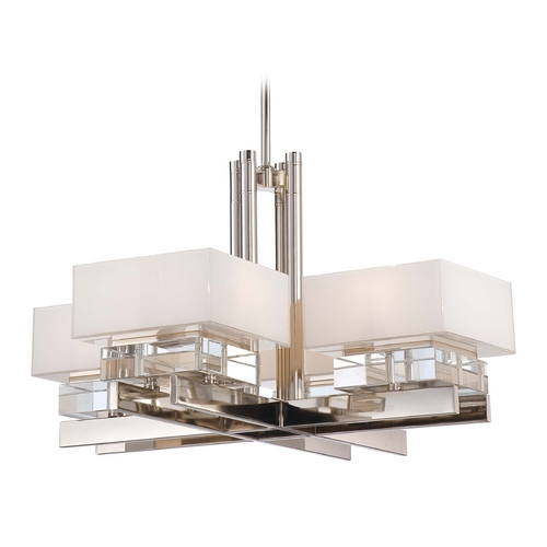 Metropolitan Lighting Crystal Chandelier with White Shades in Polished Nickel Finish N6267-613