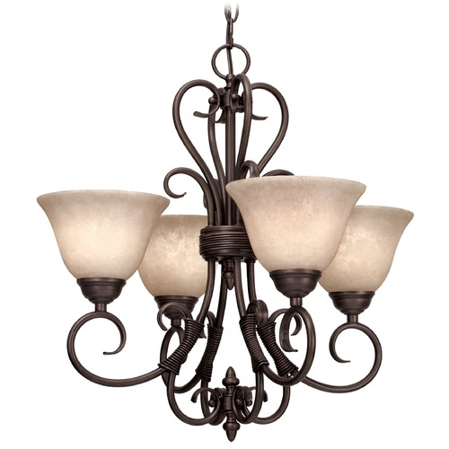Golden Lighting Golden Lighting Homestead Rubbed Bronze Mini-Chandelier 8606-GM4 RBZ-TEA