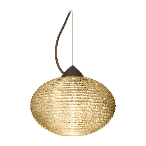 Besa Lighting Besa Lighting Pape Bronze LED Pendant Light with Globe Shade 1KX-4912GD-LED-BR