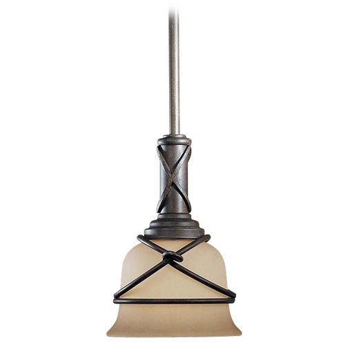 Minka Lavery Mini-Pendant Light with Beige / Cream Glass 977-1-138