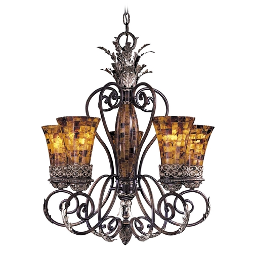 Metropolitan Lighting Chandelier with Amber Glass in Cattera Bronze Finish N6515-468