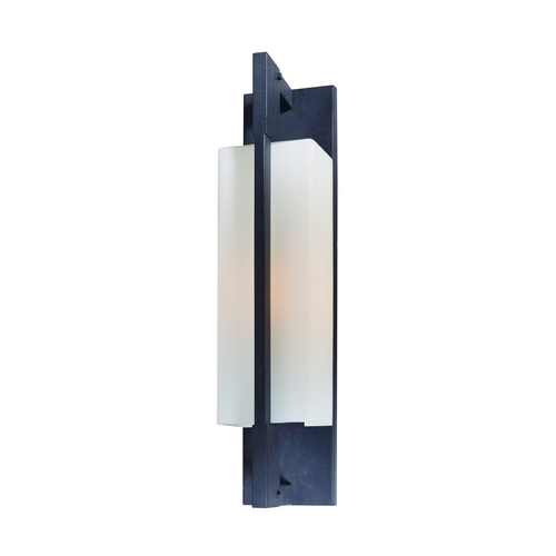 Troy Lighting Modern Outdoor Wall Light with White Glass in Forged Iron Finish BF4015FI