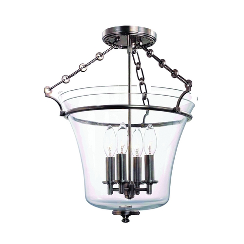 Hudson Valley Lighting Semi-Flushmount Light with Clear Glass in Polished Nickel Finish 832-PN