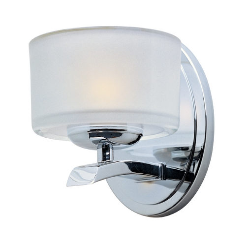 Maxim Lighting Modern Sconce Wall Light with White Glass in Polished Chrome Finish 19051FTPC