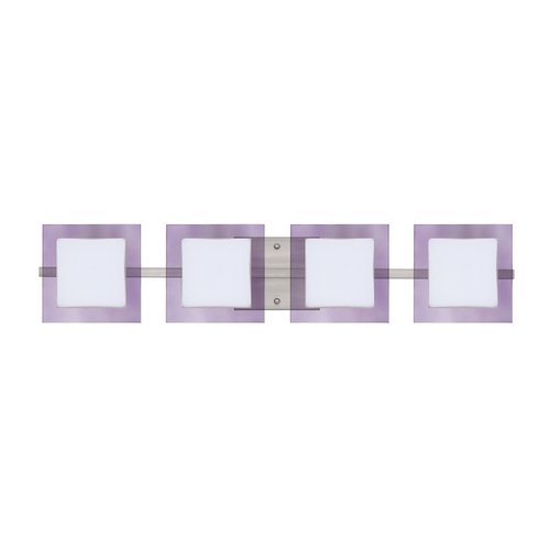 Besa Lighting Modern Bathroom Light with Purple Glass in Satin Nickel Finish 4WS-773591-SN