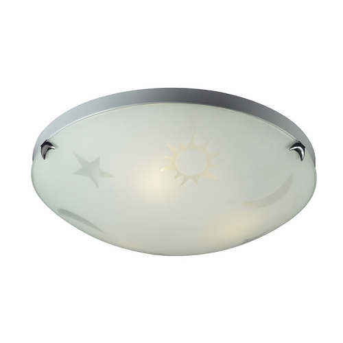 Elk Lighting Flushmount Light with White Glass in Satin Nickel Finish 5088/3
