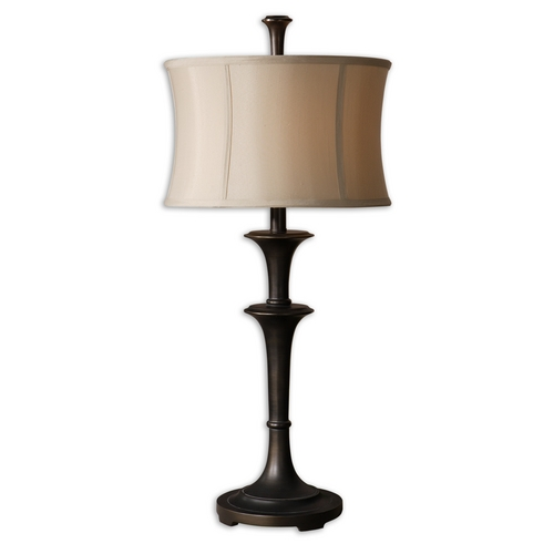 Uttermost Lighting Table Lamp with Beige / Cream Shade in Oil Rubbed Bronze Finish 26269-1