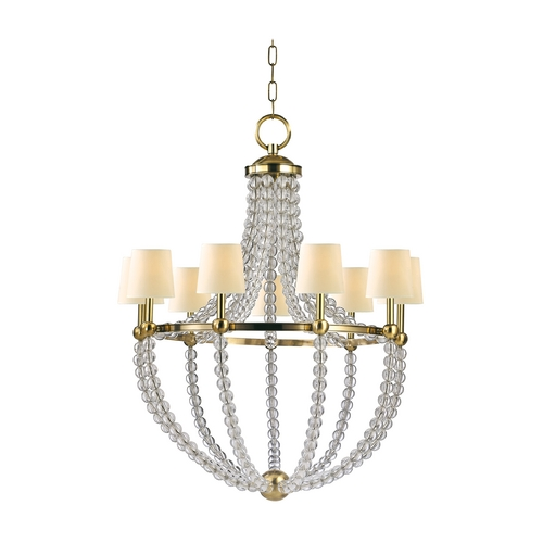 Hudson Valley Lighting Chandelier with White Shades in Aged Brass Finish 3119-AGB-WS