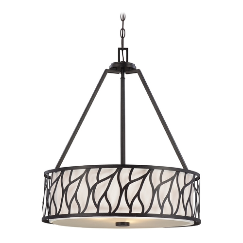 Designers Fountain Lighting Drum Pendant Light with White Cage Shades in Artisan Finish 83731-ART
