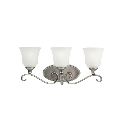Sea Gull Lighting Bathroom Light with White Glass in Antique Brushed Nickel Finish 49382BLE-965