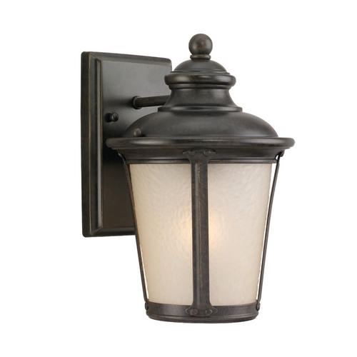 Sea Gull Lighting Outdoor Wall Light with Amber Glass in Burled Iron Finish 88240-780