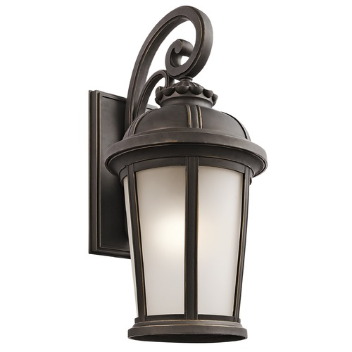 Kichler Lighting Kichler Outdoor Wall Light with White Glass in Rubbed Bronze Finish 49414RZ