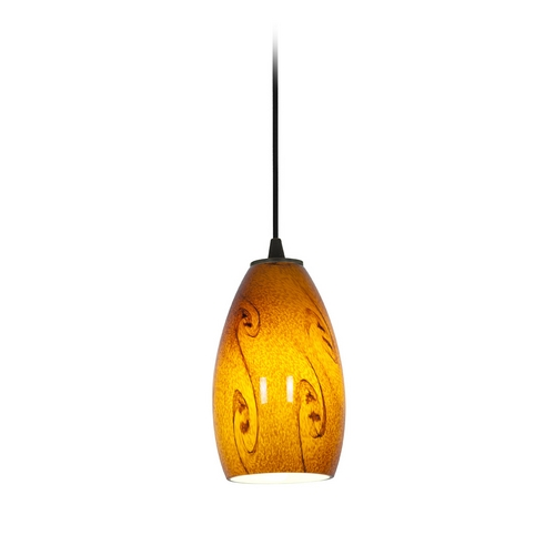 Access Lighting Modern Mini-Pendant Light with Amber Glass 28012-2C-ORB/ASKY