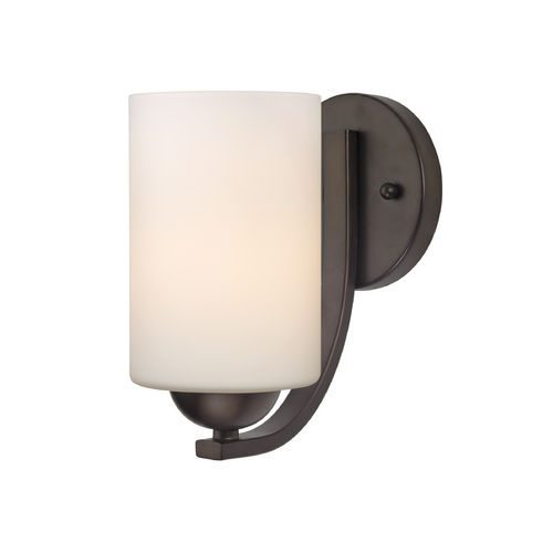 Design Classics Lighting Contemporary Wall Sconce with White Cylinder Glass in Bronze Finish 585-220 GL1028C