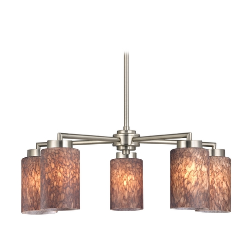 Design Classics Lighting Modern Chandelier with Brown Art Glass in Satin Nickel Finish 590-09 GL1016C