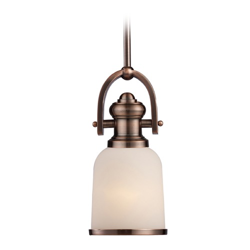 Elk Lighting Elk Lighting Brooksdale Antique Copper LED Mini-Pendant Light with Bowl / Dome Shade 66181-1-LED