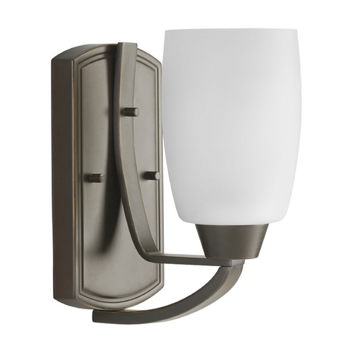 Progress Lighting Progress Sconce Wall Light with White Glass in Antique Bronze Finish P2794-20