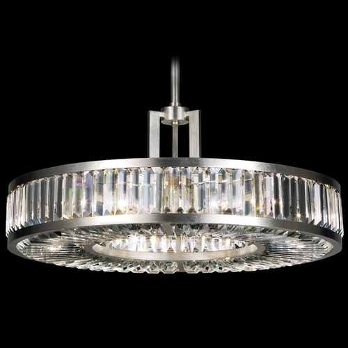 Fine Art Lamps Fine Art Lamps Crystal Enchantment Silver-Leafed Pendant Light with Drum Shade 815840ST