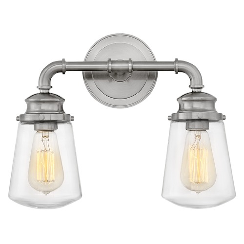 Hinkley Hinkley Fritz 2-Light Brushed Nickel Bathroom Light with Clear Glass 5032BN