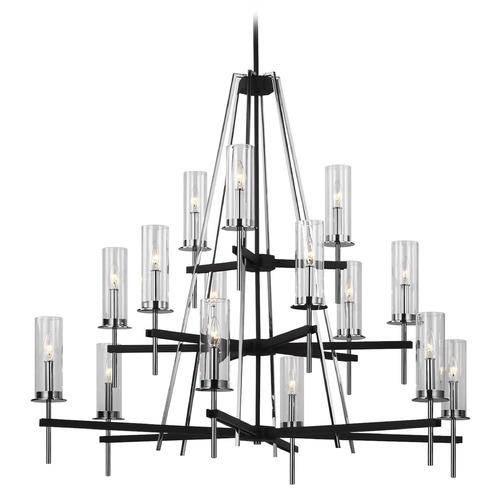 Feiss Lighting Feiss Lighting Broderick Textured Black Chandelier F3228/15TXB/CH