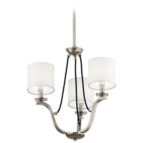 Kichler Lighting Thisbe 3-Light Classic Pewter Mini-Chandelier with White Linen Fabric Shade 43531CLP