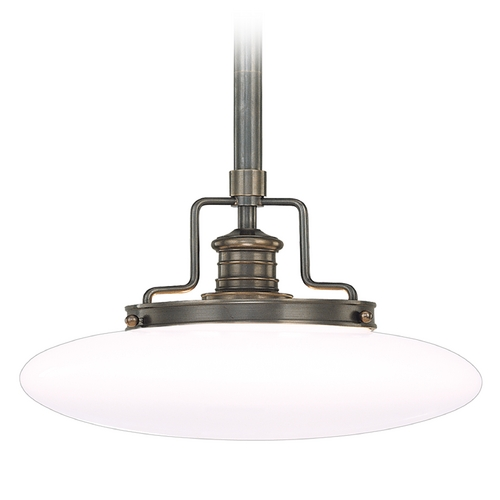 Hudson Valley Lighting Modern Pendant Light with White Glass in Old Bronze Finish 4225-OB