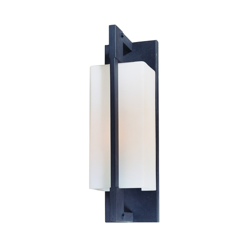Troy Lighting Modern Outdoor Wall Light with White Glass in Forged Iron Finish BF4016FI