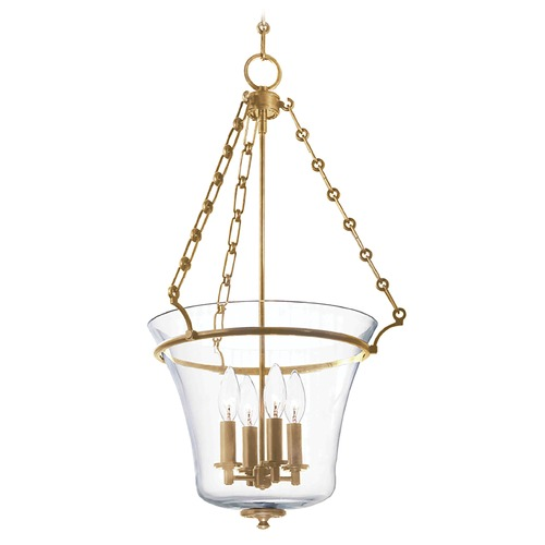 Hudson Valley Lighting Pendant Light with Clear Glass in Aged Brass Finish 833-AGB