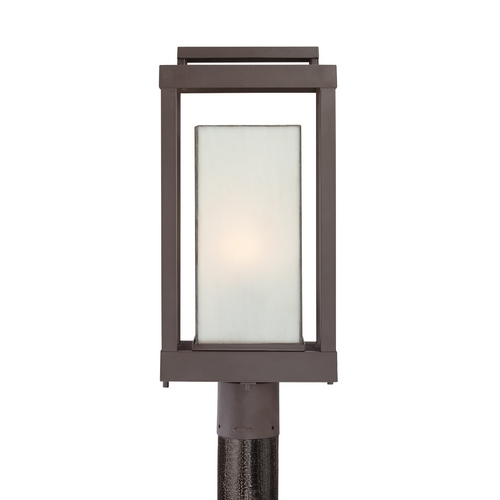 Quoizel Lighting Post Light with Art Glass in Western Bronze Finish PWL9009WT