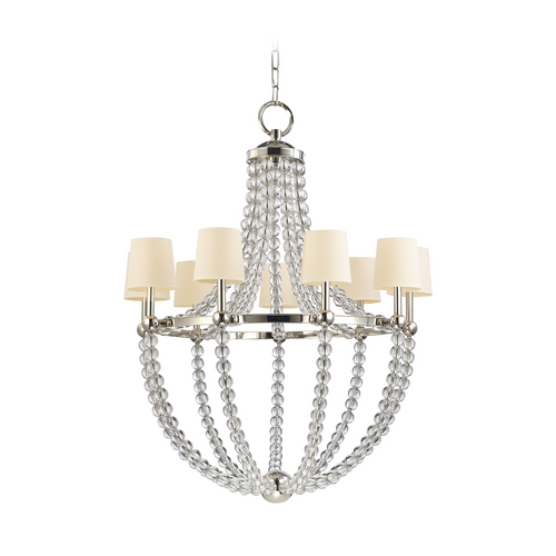 Hudson Valley Lighting Chandelier with Beige / Cream Paper Shades in Polished Nickel Finish 3119-PN