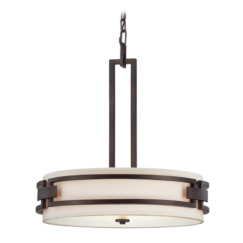 Designers Fountain Lighting Drum Pendant Light with White Shades in Flemish Bronze Finish 83831-FBZ