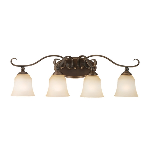 Sea Gull Lighting Bathroom Light with Beige / Cream Glass in Russet Bronze Finish 49383BLE-829
