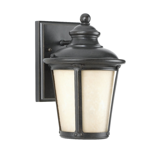 Sea Gull Lighting Outdoor Wall Light with Amber Glass in Burled Iron Finish 88240D-780